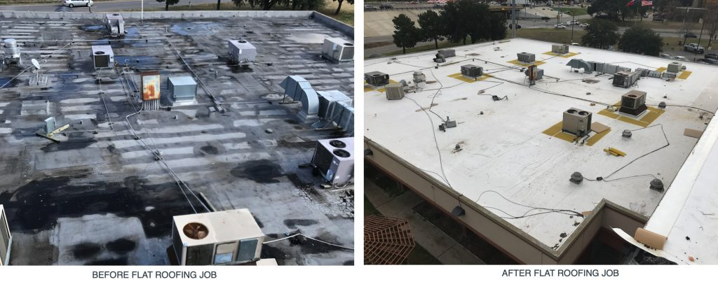 before and after flat roofing service in wichita