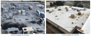before and after commercial roofing